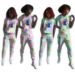 Summer Sportswear Suit Australia - Women Champions Letter Camo Tracksuit Short Sleeve Hooded T-shirt and Pants 2pcs Set Spring Summer Sports Suit Sportswear Joggers Set A3201