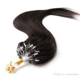 "26 7a Grade Hair UK - 10""-26"" 0.5g s 200s Grade 7A Indian Loop Micro Ring Human Hair Extensions 100%Remy Virgin Hair Straight Dark color 100g , free DHL"