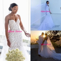 $enCountryForm.capitalKeyWord Australia - Fabulous Spaghetti Strap Lace Boho Beach Wedding Dress Sweetheart Backless Tulle Sweep Train Country Western Mermaid Bridal Gowns