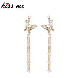 $enCountryForm.capitalKeyWord Australia - Exquisite Enamel Crystal Butterfly Acrylic Pearl Long Chains Tassel Dangle Earrings For Women Ear Clip&stud Accessories