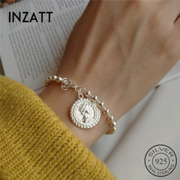 disc bracelet UK - INZATT Real 925 Sterling Silver Disc Portrait Carving Gothic New Bracelet For Women Party Light Beads Chain FINE Jewelry CX200706