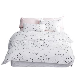 black white rose bedding NZ - Modern Simple Design Bedding Set 4pcs Cotton Twin Queen King Size Black and White Polka Dot Plaid Geometric Print