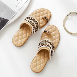 $enCountryForm.capitalKeyWord Australia - 2019 Summer Mew Pearl Sandals and Slippers Black Apricot Women's Shoes Flat Bottom Lazy Open-toe Chain Beaded Sandals