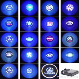 Wholesale Battery Powered LED Car Weclome Door Light D Laser Projector Lamp Auto Car Brands Logo Shadow Light Decoration Lighting Bulb