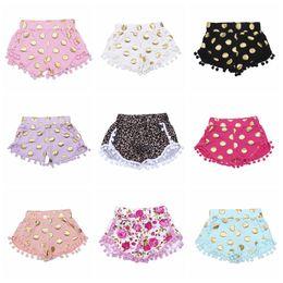 Girls Zebra Print UK - Baby Girls Shorts Kids Dot Pompon Shorts Dance Party Zebra Leopard Print Shorts Summer Tassel Fringe Pants Fashion Boutique Trousers LT267