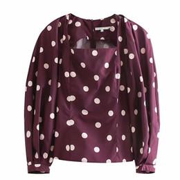 Square Shirt women online shopping - RR Taffeta Dot Printed Blouses Women Fashion Sweet Square Collar Shirts Women Elegant Long Sleeve Tops Female Ladies JH