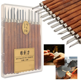 $enCountryForm.capitalKeyWord Australia - 12pcs Carving Tools DIY Clay Pottery for Wood Carving Chisels Knife Sculpture Wooden Handle Set Pottery Ceramic For Making Bags