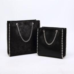 $enCountryForm.capitalKeyWord UK - Retro Large Capacity Tote Bag Women Fashion Chain Rivet Shoulder Bags Lady Commuting Pu Leather Purses Bags Solid Color Bag Bead