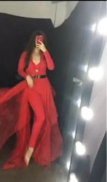 Plus Size V Neck Jumpsuit Australia - Evening dress Jumpsuit Long sleeve Chiffon Red With trail Zipper V-Neck Zipper Customizable in any size Modern 63