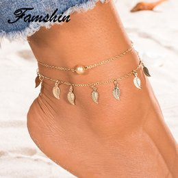 beach anklets NZ - FAMSHIN Summer Beach 2 Color Double Leaves Pendant Anklet Foot Chain Bohemian Handmade Beads Anklets Foot Gothic Boho Jewelry