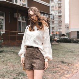 Invierno de las mujeres suéter otoño de gran tamaño de punto de cachemira mujeres suéter de la manga de la linterna de diamante básico espesar jerseys ropa de mujer en venta
