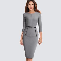 $enCountryForm.capitalKeyWord NZ - New Arrival Autumn Formal Peplum Office Lady Dress Elegant Sheath Bodycon Work Business Pencil Dress Hb473 T4190613