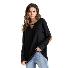 $enCountryForm.capitalKeyWord NZ - European 2019 Spring Women clothes T-shirt Buttons Patch Tops Round neck Pullover Loose Plus size S-2XL Wholesale DHL