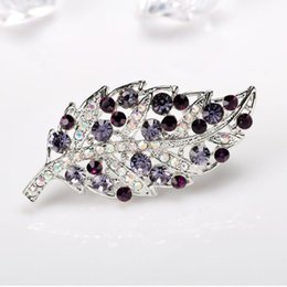 needles brooches jewelry UK - Purple Rhinestone Leaf Brooches for Women Suit Simple Plant Brooch Pin Crystal Jewelry Fixed Needle Clothing Accessories Wedding