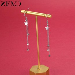 star piercings Australia - ZEMO Star Heart Design Drop Earrings for Women Tassel Dangle Chain Hook Earrings Stainless Steel Hang Ear Piercing Party Jewelry