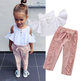infant lace shirts Australia - Toddler Girl Vest Suit Infant Girl Outfits Clothing Off Shoulder Ruffled Sleeves Cross Straps Shirt Bow-Tie Fungus Lace Pants Two Piece Set