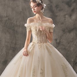 fashion designing wedding dresses Australia - Naked Shoulder New Bride Wedding Dress Fashion Sexy Luxury Dress Pearl Inlay High Waist Design Extra Long Skirt