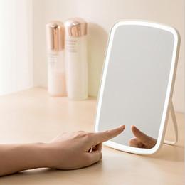 Ingrosso Originale Xiaomi youpin LED specchio per il trucco di ricarica USB Intelligente desktop portatile ha condotto la luce portatile pieghevole specchio luce angolo regolabile