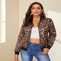 Wholesale women sport outerwear clothes resale online – Leopard Womens Designer Jackets Stand Collar Zipper Outerwear Fashion Long Sleeve Streetwear Coats Womens Sport Clothing