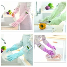 velvet brush Australia - Cleaning Gloves Housework kitchen cleaning dishwashing laundry clothes durable rubber brush bowl rubber plus velvet gloves thick waterproof