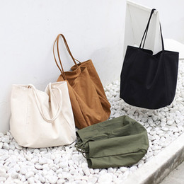 43ffebac2f9c Portable Foldable Canvas Shopping Bag Simple Pure Color Large Capacity  Single-shoulder Art Handbag Casual Reusable shoulder bag LJJT480