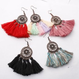 China New Ethnic Bohemian Drop Dangle Long Rope Fringes Retro Tassel Earrings Red Sector Earrings for Women Party Jewelry cheap fringe earrings suppliers