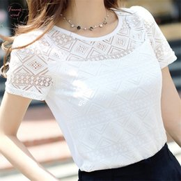 Womens Chiffon Shirt Lace shirt das mulheres Casual T Shirt Womens T Branca Manga curta slim Drop Shipping