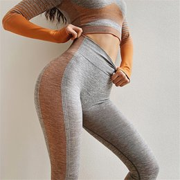 Seamless Yoga Pants NZ - Amplify Seamless Leggings For Women Gym Tummy Control Outfits Trousers High Waisted Yoga Pants Ombre Stripe Sport Leggings