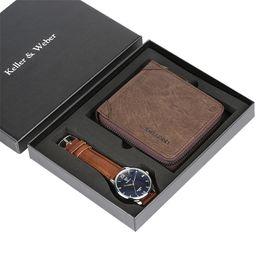 $enCountryForm.capitalKeyWord Australia - Mens Watch Zipper Pouch Wallet Watch Gift Set for Men Leather Strap Wristwatch for Men Luxury Present Set Father Boyfriend