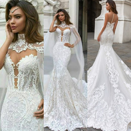 Wholesale Princess Mermaid Lace Wedding Dresses With Cape Sexy High Neck Bohemian Wedding Dress Applique Plus Size Bridal Gown Cheap Vestidos De Novia
