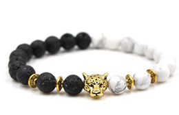 fish balls Australia - 8mm hg423 gold silver ball Frosted agate Onyx nature black stone Lion head Bracelet Reiki Chakra Fashion