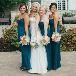 1923d073ae2 Teal Chiffon Bridesmaid Dresses 2019 Sweetheart Beach Empire Waist Ruched  Floor Length Plus size Country Bridesmaid Party Prom Dress Cheap