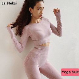 pink suits for women Australia - Vital Seamless Yoga Set Workout Clothes for Women Crop Top Two-piece Workout Set Sport Suit ropa deportiva mujer Gym Clothing SH190831