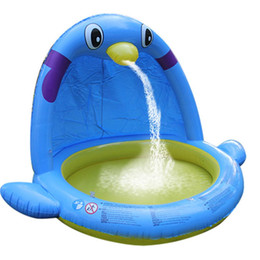 $enCountryForm.capitalKeyWord UK - 2019 Children's Large Water Spray Game Mat Indoor Swimming Pool Thickened Penguin Shape Inflatable Paddling Pool