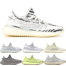 Women shoes summer boots online shopping - Butter V2 Beluga Frozen Yellow Blue Tint Zebra Cp9652 Bred Men Running Shoes Kanye West Designer Sport Sneaker With Box