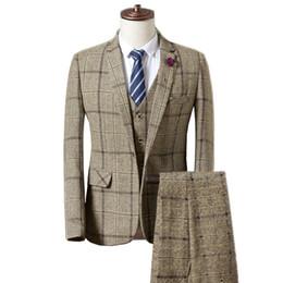 Vente en gros 2019 costumes de costumes décontractés pour hommes de la mode hommes / un seul bouton treillis à carreaux costume veste blazers manteau pantalon pantalon gilet # 533310