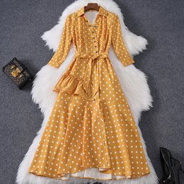 sequin lapel dress Australia - 2020 Spring Summer Three-Quarter Sleeves Lapel Neck Yellow Polka Dot Print Panelled Sequins Mid-Calf Dress Fashion Casual Dresses W15M86246