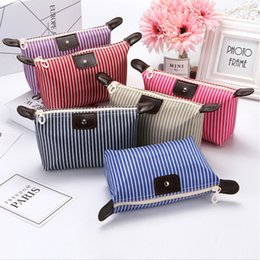 Wholesale 2019 Women Korean Striped Cosmetic Bags Multifunction Purse Box Travel Makeup Bag Toiletry Case Pouch Ladies Packs Fashion New