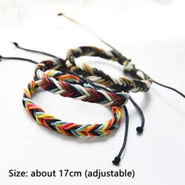 bracelets linens Australia - 1pc Korean Colorful Cotton Linen Rope Hand-woven Bracelets For Unisex Couples Hand Strap Korean Punk Style Wristbands