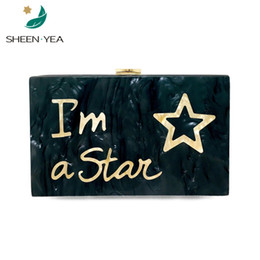 Discount ladies new stylish wallet - New designer Women wallet luxury evening bag Cute letter Star partchwork acrylic hard box stylish ladies Casual Clutch h