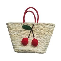 $enCountryForm.capitalKeyWord UK - Summer Shopping Large Totes Boho Bags Red Cherry Pom Ball Design Beach Bag Handmade Woven Straw Handbags for Women Shoulder ba