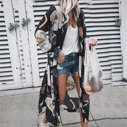 $enCountryForm.capitalKeyWord Australia - Casual Boho Beach Dress Women Floral Long Sleeve Chiffon Cardigan Brown Dress Kimono Cover Ups Summer Casual Maxi Dresses