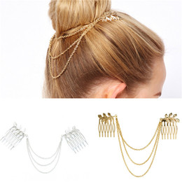 $enCountryForm.capitalKeyWord Australia - Free Shipping Hair Side Combs,Vintage Gothic Style Bridal Comb with Chain Fringe Tassels Hair Cuff Hair Band Accessories for Girls Women