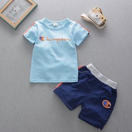 Wholesale side piece clothing for sale – dress Baby Boys Summer Clothing Sets Kids Champions Tracksuits Side Stripe T shirt Shorts Children Outdoor Sports Piece Outfits Clothes B4251