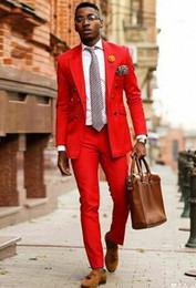 Light bLazers online shopping - Brand New Red Men Wedding Tuxdos Double Breasted Groom Tuxedos Excellent Men Jacket Blazer Piece Suit Jacket Pants Tie