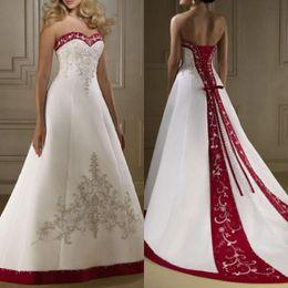 Strapless Satin Wedding Dresses Bridal Australia - 2019 Vintage Satin Strapless Wedding Dresses A Line Lace Up Court Train Bridal Gowns Plus Size