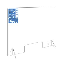 Wholesale 4pcs Sneeze Defense Acrylic Plexiglass Sneeze Guard Barrier and Shield for Counters