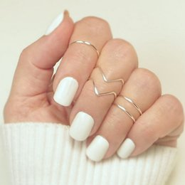 v shape rings for women 2019 - FUNIQUE 5pcs set Boho Knuckle Tail V-shaped Ring 2018 Ladies Thin Midi Rings Party Jewelry Rose Gold Alloy Ring Sets For