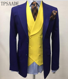 $enCountryForm.capitalKeyWord Australia - Slim Fit Men Suits For Wedding Fashion Double Breasted Yellow Vest Tailor Made Groom Tuxedos Prom Paer Costume Homme 2019