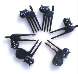 Wholesale Mini Animal Cartoon Cat Fork Fruit Picks Cute Children Fork Bento Lunch Box Decor Accessories Black Color